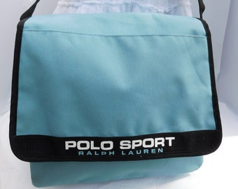 9441bb2ad46 Vintage POLO SPORT Ralph Lauren Blue Nylon Crossbody Messenger Laptop  Shoulder Bag
