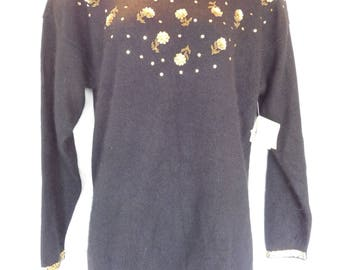 83b748daea1 Vintage Lord   Taylor Young Americans Beaded Silk Sweater Size Small NWT