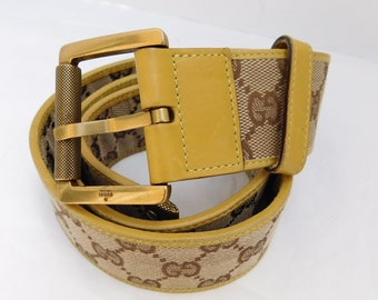 2fae3356326 VINTAGE Gucci Beige Yellow GG Monogram Canvas Leather Buckle Belt
