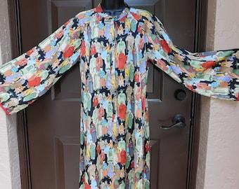 Vintage 80's Natori Silky Kimono Maxi Housecoat Asian Print Style Loungewear Robe M