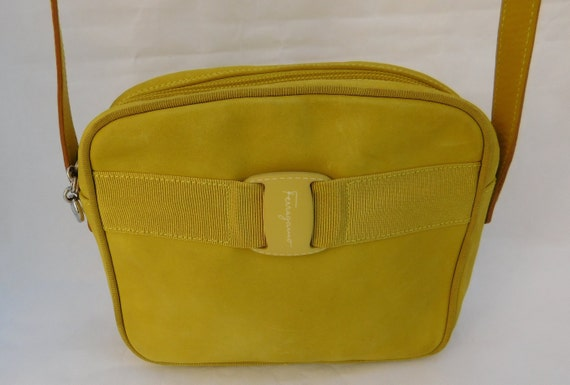 51ebbafd2ae Authentic Salvatore Ferragamo Yellow Leather Crossbody Purse   Etsy