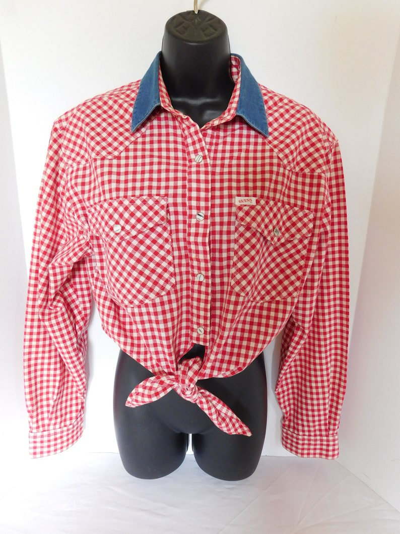 Vintage Guess Pearl-Snap Gingham Western Daisy Duke Front Tie Top