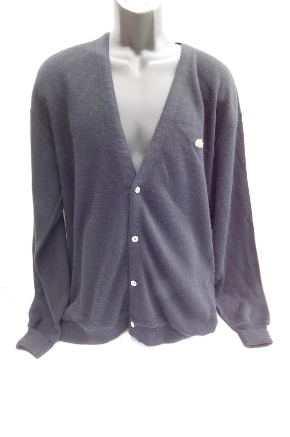 fbfca0bbe5272 Izod Lacoste Vintage 80 s Black Cardigan Preppy Sweater