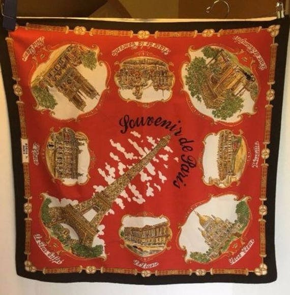 Vintage Scarf Styles -1920s to 1960s Vtg Roger L. Paris French Landmarks Souvenir Scarf Lahmy Made in Italy $21.00 AT vintagedancer.com