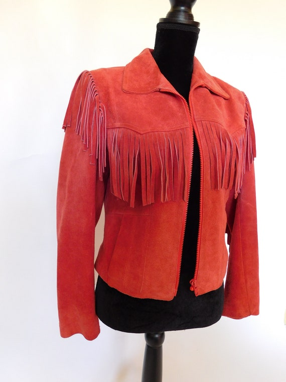 Vintage 80's Wilsons Suede Leather Fringe Moto Ja… - image 2