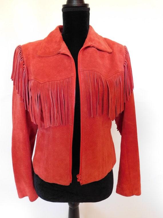 Vintage 80's Wilsons Suede Leather Fringe Moto Ja… - image 1