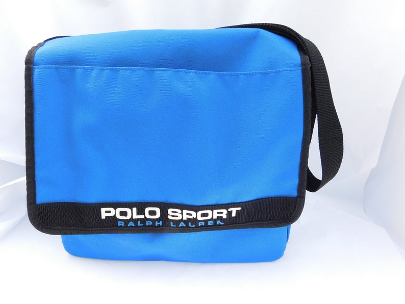Vintage POLO SPORT Ralph Lauren Blue Nylon Crossbody Messenger  f9dfeed2a30c9