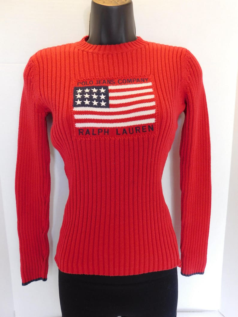 b25f3a617 Vintage Polo Ralph Lauren Red Big Flag Knit Sweater Size Small