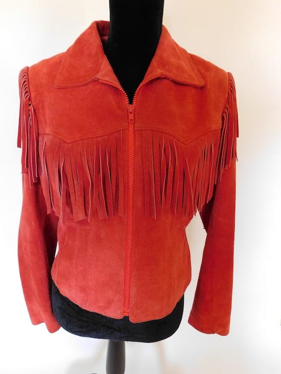 Vintage 80's Wilsons Suede Leather Fringe Moto Ja… - image 7