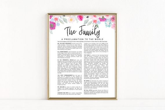 graphic relating to Family Proclamation Printable named LDS Spouse and children Proclamation Printable - Watercolor Floral Household Proclamation - The Household Proclamation in direction of the Environment Electronic Down load - LDS Artwork