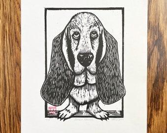 Basset Hound Art Basset Hound Woodcut Basset Hound Artwork Basset hound Woodblock Print Block Print Woodcut Dog Art Dog Woodcut Hush Puppy