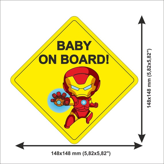1 Marvel Ironman Personalised Baby On Board Car Sign