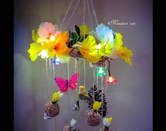 Floral Chandelier, mobile - baby/child, nursery decor, bedroom decor,