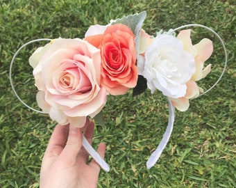 Pink peach floral Minnie Mouse ears