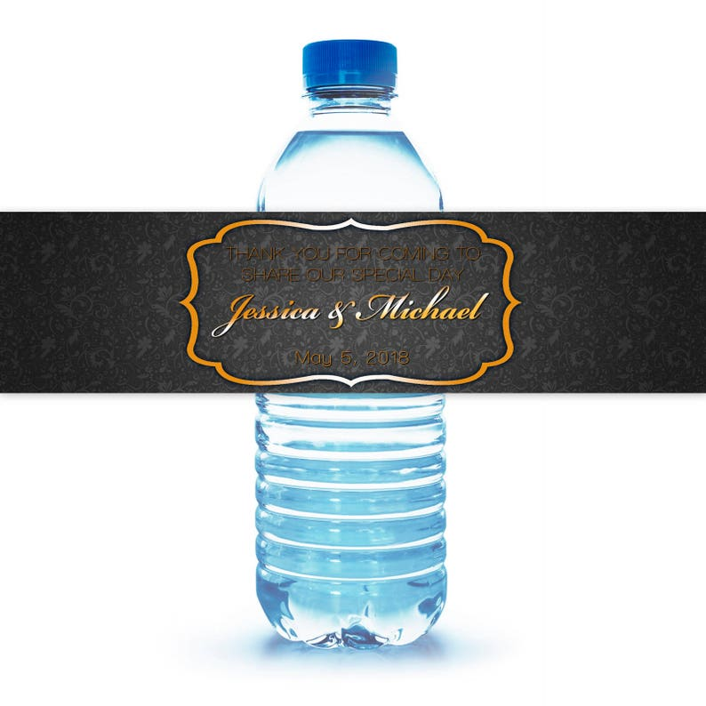 Printed Water Bottle Labels Personalized Wedding Thank You For Etsy
