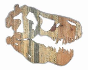 Reclaimed Wood Dinosaur Skull - T-Rex