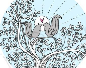 Squirrels Love Card - Valentines Card - Anniversary Card - Squirrel Card - Birthday Card - Thank You Card