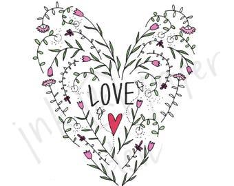 Love Heart Card - Love Card - Valentines Card - Anniversary Card