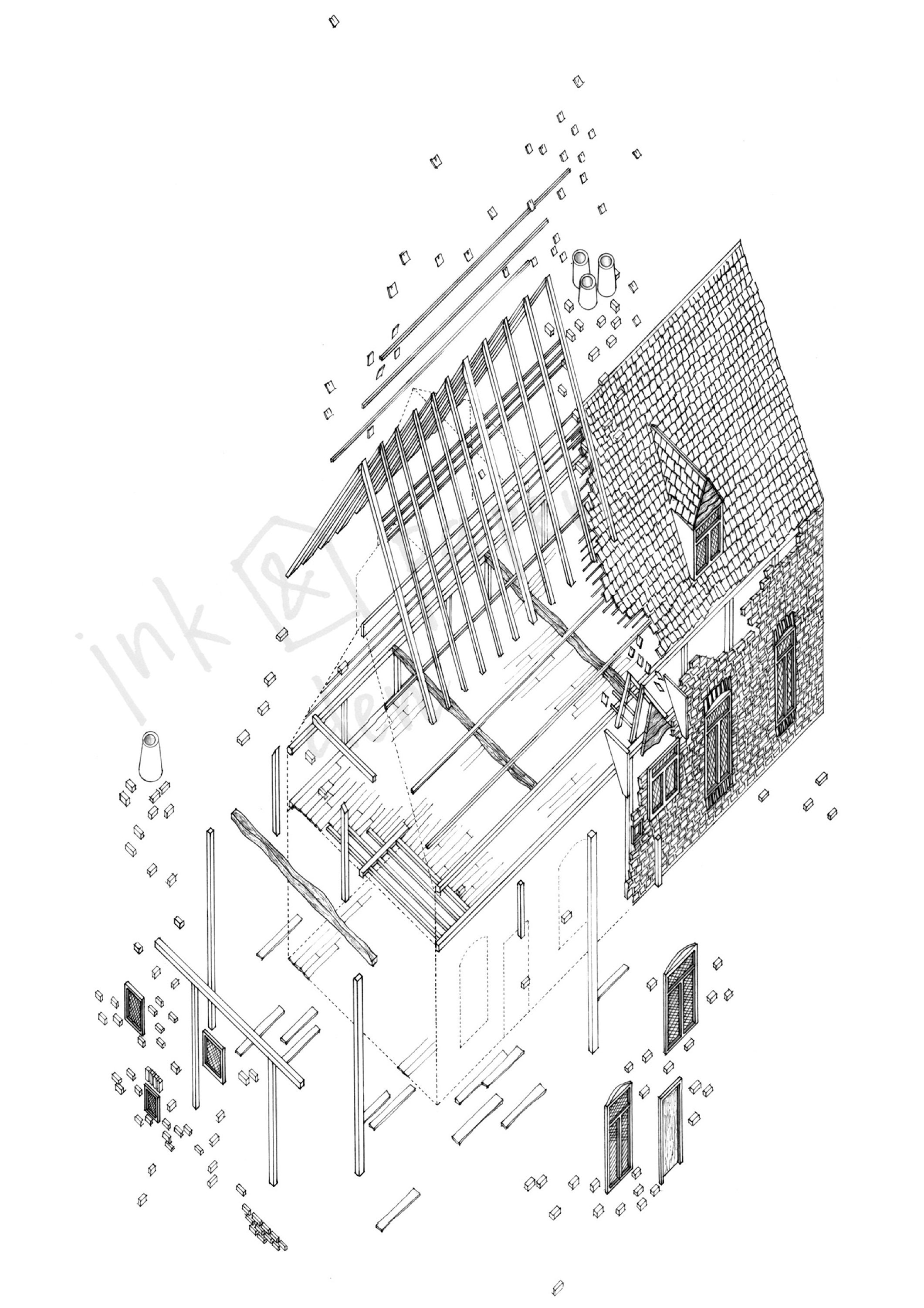 A4 Building Art Print Architecture Print Building Drawing
