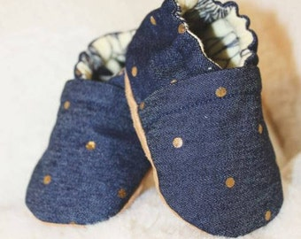 Dotted Denim and Gold Crib Shoes, Baby Booties, Baby Shower