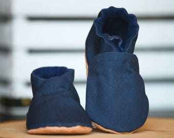 Navy Blue Canvas Crib Shoes, Baby Booties, Baby Shower