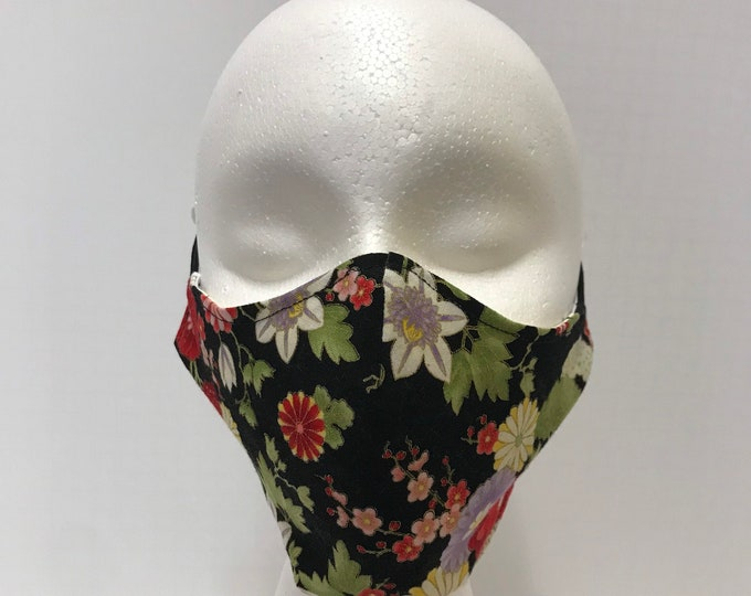 JAPANESE FLORAL Face Mask 3 Layers of Cotton w/ Filter Pocket. Machine Washable and Reusable. Handcrafted in USA.