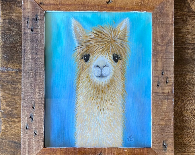 "COOL ALPACA Acrylic Wall Art on Fabric Hand Painted on 8"" x 10"". Hanging Art Home Decor - Painting tutorial available for purchase."