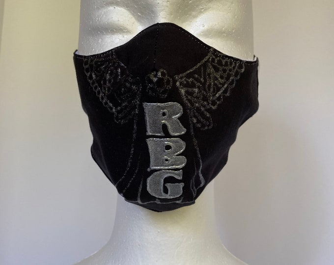 RBG 3 Layers of Cotton Face Mask w/ Filter Pocket and Soft Elastic Bands. Machine Washable. Handcrafted and Hand-Painted in USA.