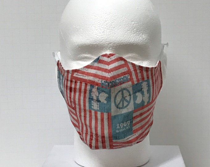WOODSTOCK Face Mask 3 Layers of Cotton w/ Filter Pocket. Machine Washable and Reusable. Handcrafted in USA.
