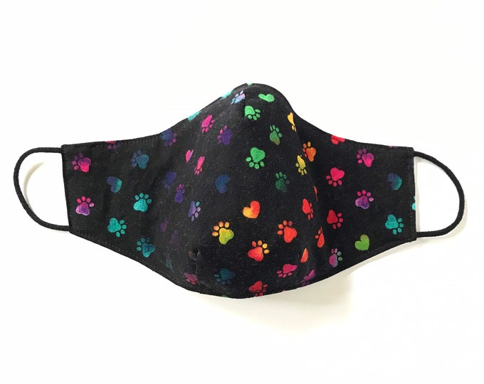 CHILD (8 - 12 yrs.) 3 Layers of Cotton Face Mask w/ Filter Pocket and Soft Elastic Bands. Machine Washable. Handcrafted in USA.
