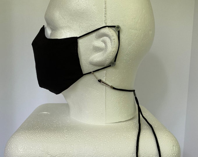 Detachable Face Mask Holder Made of Woven Elastic with Clasps on Each End and a Silicone Adjuster - Mask in Picture not Included.
