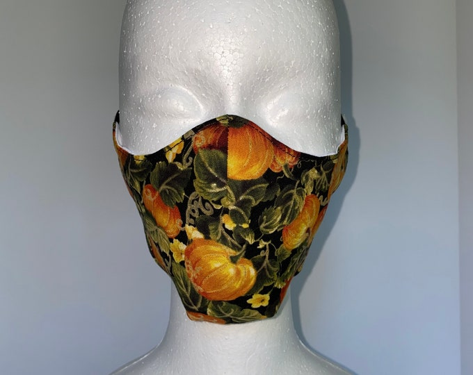 PUMPKIN PATCHES Fall 3 Layers of Cotton Face Mask w/ Filter Pocket and Soft Elastic. Mask Holder Sold Separately. Machine Washable.
