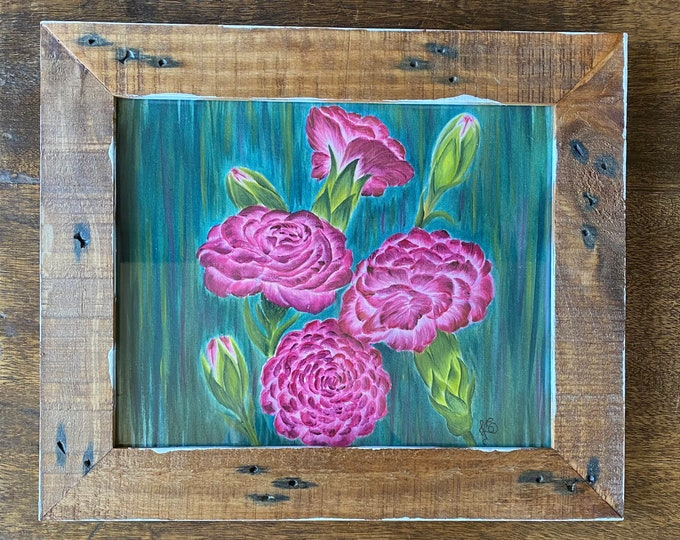 "CARNATIONS acrylics for textile hand painted on 100% cotton fabric size 8"" x 10""."