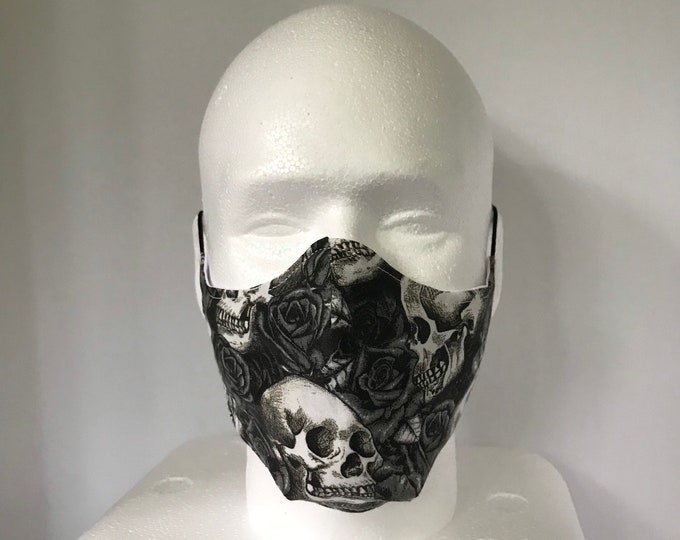SKULLS N ROSES 3 Layers of Cotton Face Mask w/ Filter Pocket and Soft Elastic Bands. Machine Washable. Handcrafted in USA.