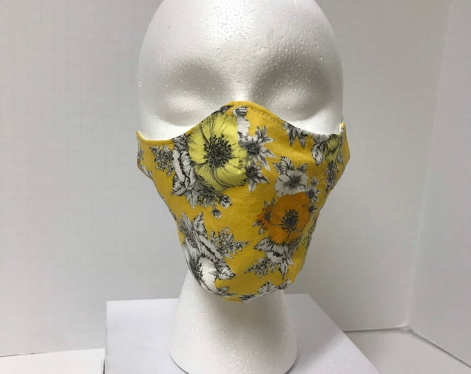 Yellow Tea Roses Face Mask 3 Layers of Cotton w/ Filter Pocket. Machine Washable and Reusable. Handcrafted in USA.