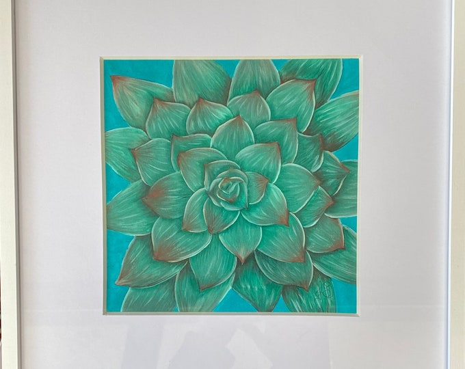 "SUCCULENT Acrylic Wall Art on Fabric Hand Painted on 8"" x 10"". Hanging Art Home Decor - Painting tutorial available for purchase."