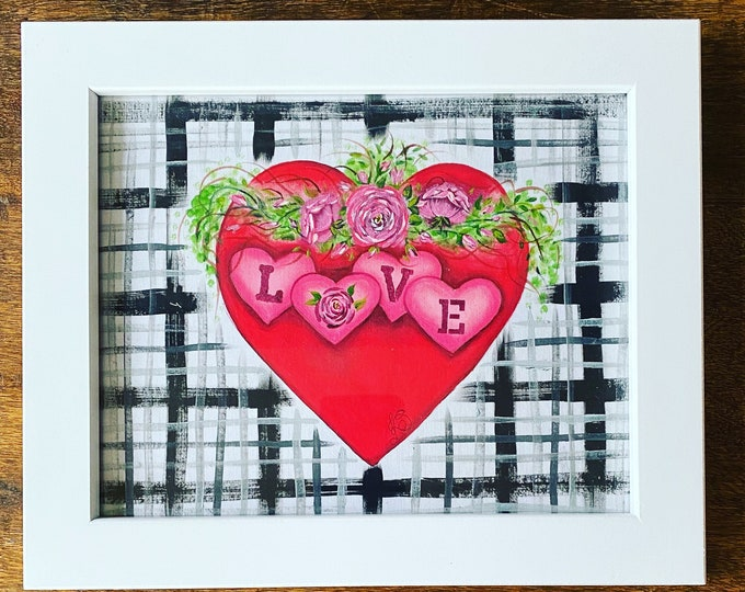 "VALENTINES' HEART and ROSES acrylics for textile hand painted on 100% cotton fabric size 8"" x 10""."