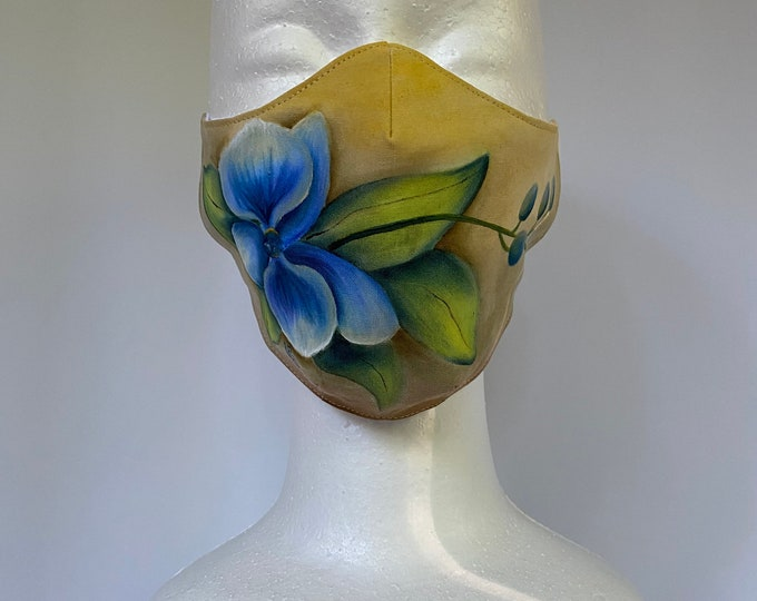 BLUE ORCHID 3 Layers of Cotton Face Mask w/ Filter Pocket and Soft Elastic. Machine Washable and Reusable. Handcrafted and painted in USA.