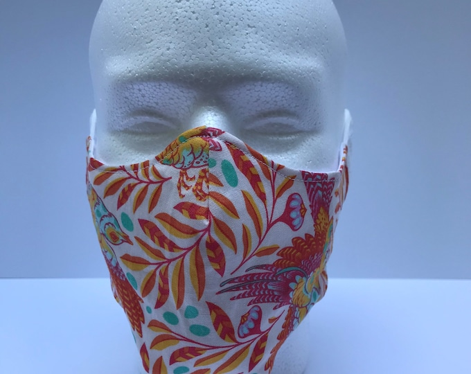 BIRDS on foliage 3 Layers of Cotton Face Mask w/ Filter Pocket. Machine Washable and Reusable. Handcrafted in USA.