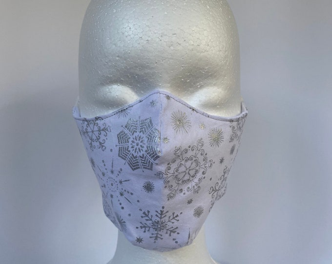 SNOWFLAKES Silver 3 Layers of Cotton Face Mask w/ Filter Pocket and Soft Elastic. Mask Holder Sold Separately. Machine Washable.