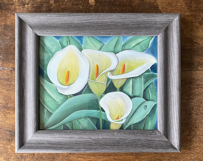 "CALLA LILIES Acrylic Wall Art on Fabric Hand Painted on 8"" x 10"". Hanging Art Home Decor - Painting tutorial available for purchase."