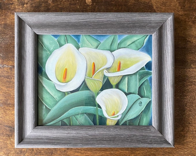 "CALLA LILIES acrylics for textile hand painted on 100% cotton fabric size 8"" x 10""."