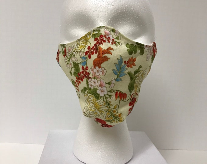 JAPANESE Print Face Mask 3 Layers of Cotton w/ Filter Pocket. Machine Washable and Reusable. Handcrafted in USA.