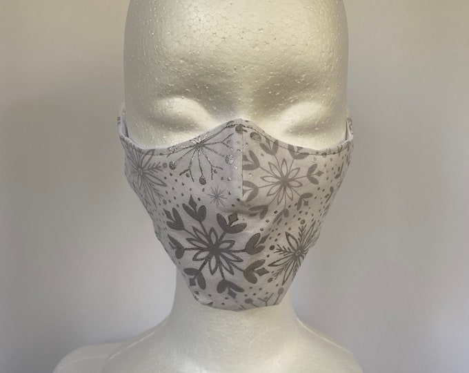 SNOWFLAKES Gray 3 Layers of Cotton Face Mask w/ Filter Pocket and Soft Elastic Bands. Machine Washable. Handcrafted in USA.