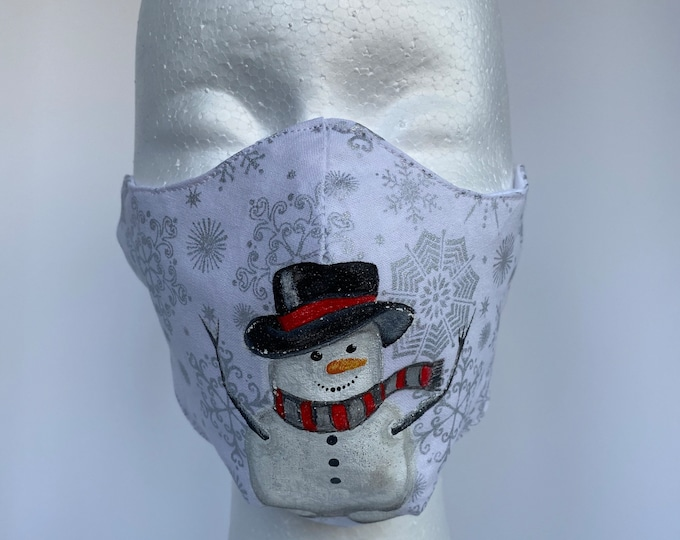 SNOWMAN 3 Layers of Cotton Face Mask w/ Filter Pocket and Soft Elastic Bands. Machine Washable. Handcrafted and Hand-Painted in USA.