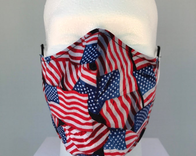 THE PATRIOT Mask, American Flag Face Mask 3 Layers of Cotton w/ Filter Pocket. Machine Washable and Reusable. Handcrafted in USA.