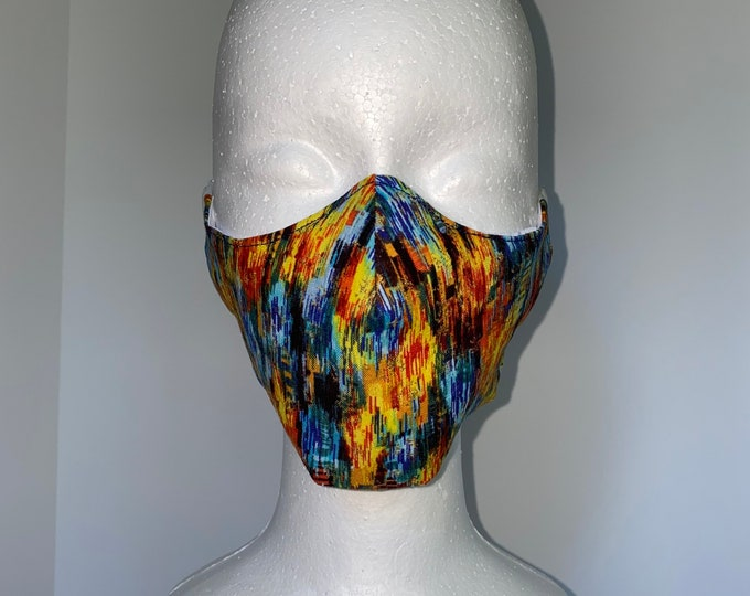 FALL COLORS 3 Layers of Cotton Face Mask w/ Filter Pocket and Soft Elastic. Mask Holder Sold Separately. Machine Washable.
