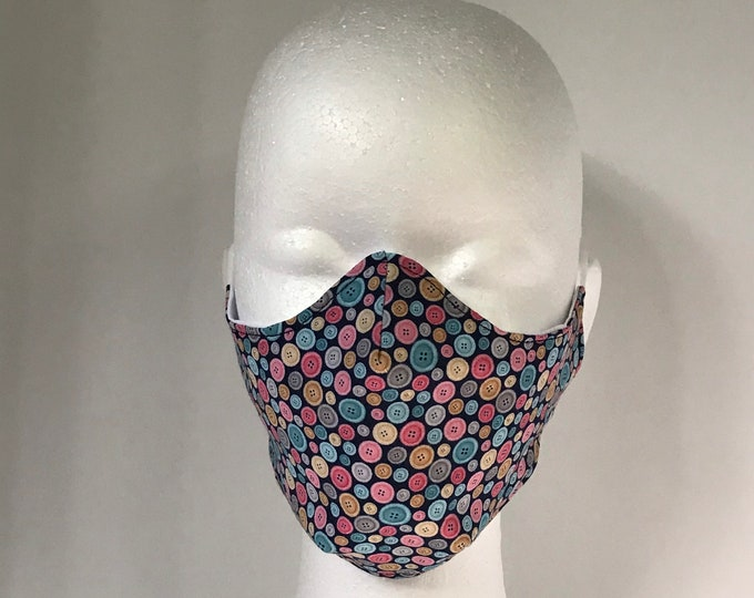 BUTTONS 3 Layers of Cotton Face Mask w/ Filter Pocket and Soft Elastic Bands. Machine Washable. Handcrafted in USA.