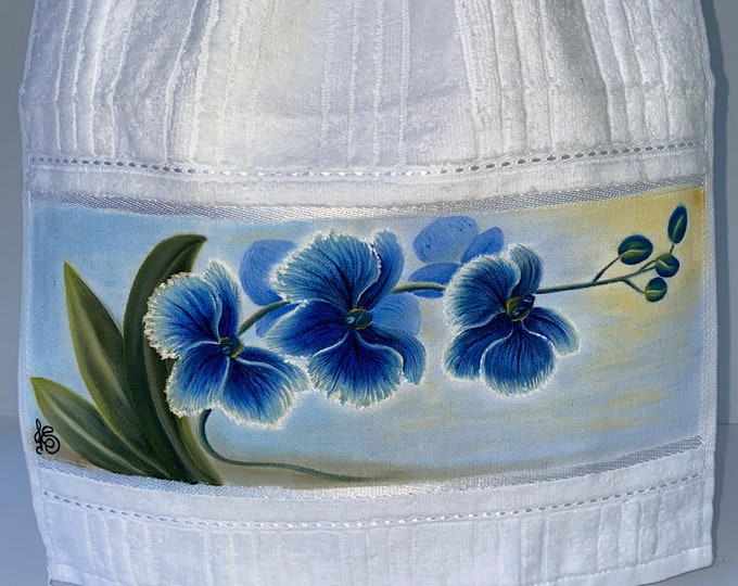 BLUE ORCHIDS Hand Painted Guest Towel Kitchen Towel Hand Towel
