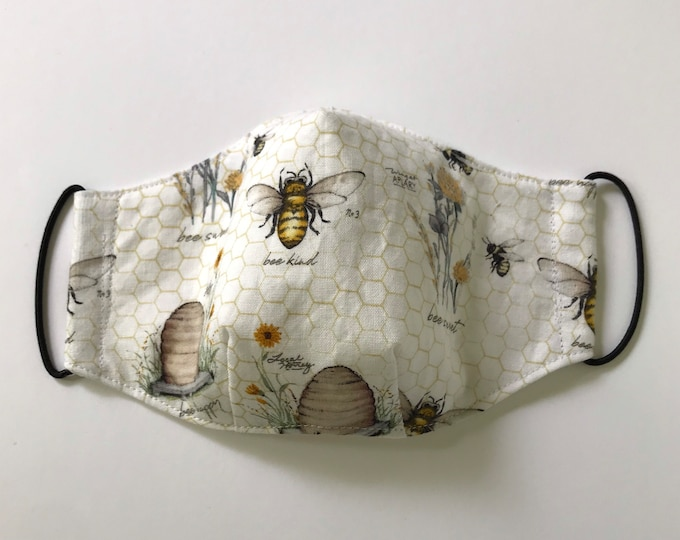 CHILD (8 - 12 yrs.) Bees Hive 3 Layers of Cotton Face Mask w/ Filter Pocket and Soft Elastic Bands. Machine Washable.